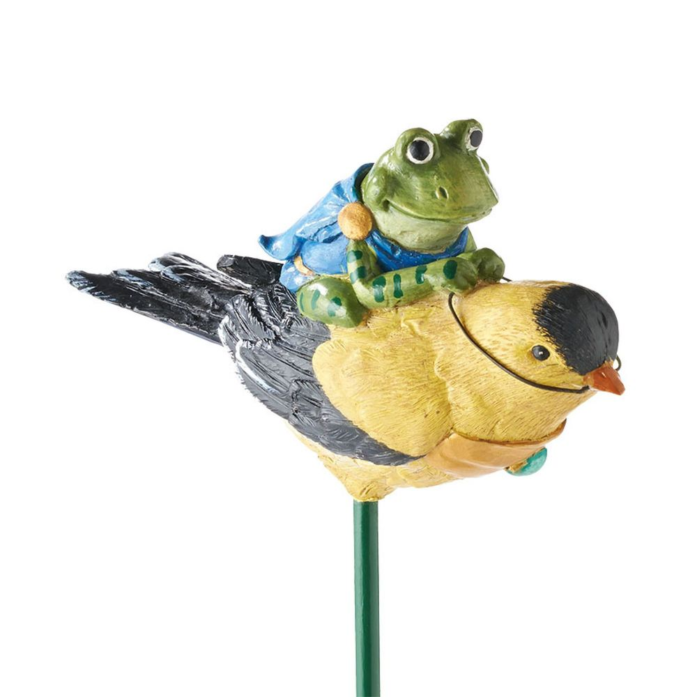 Department 56 Enchanted Guardians Goldfinch Frog Fairy Garden Stake 4039898
